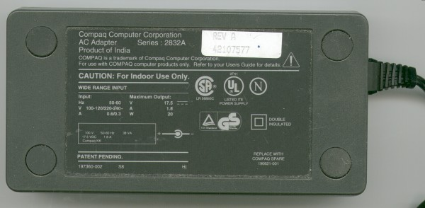 Picture of: compaq contura aero power adapter model 2832a / laptop power supply and tech talk, comments, help & reviews.