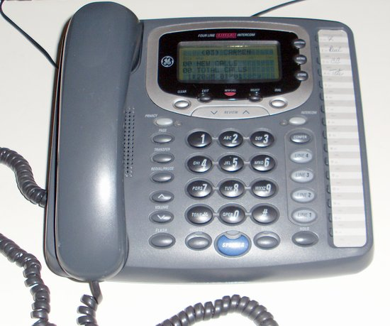 Picture of: 4-line expandable business speakerphone with caller id and data port telephone ge 29488ge2 and tech talk, comments, help & reviews.