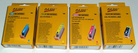 Picture of: oa100 canon ink bci-6 compatible cartridge set black, cyan, magenta, yellow, bjc-8200, f850, s800, i905d, s820, s900, s9000, i860, i9950, pixma, mp750, mp780, ip3000, ip6000, ip8500  and tech talk, comments, help & reviews.