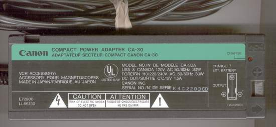 Picture of: canon compact power supply adapter ca-30 / 12v 1.5a and tech talk, comments, help & reviews.