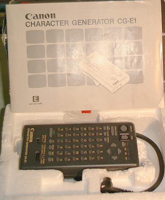 Picture of: video character generator cge1 - canon cg-e1 and tech talk, comments, help & reviews.