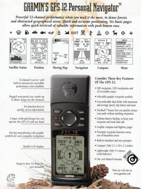 GPS Garmin 12 Personal Navigator Handheld Portable