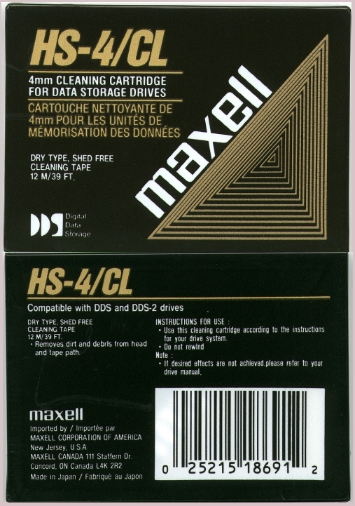 Picture of: maxell 4mm dds / dds-2  cleaning tape hs-4/cl and tech talk, comments, help & reviews.