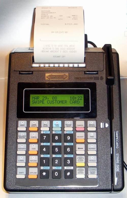 Picture of: hypercom t77-f credit card terminal integrated printer and tech talk, comments, help & reviews.