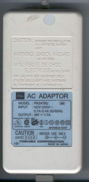 Picture of: toshiba laptop ac adapter pa2478u 18v 1.7a / power supply toshiba pa-2478u and tech talk, comments, help & reviews.