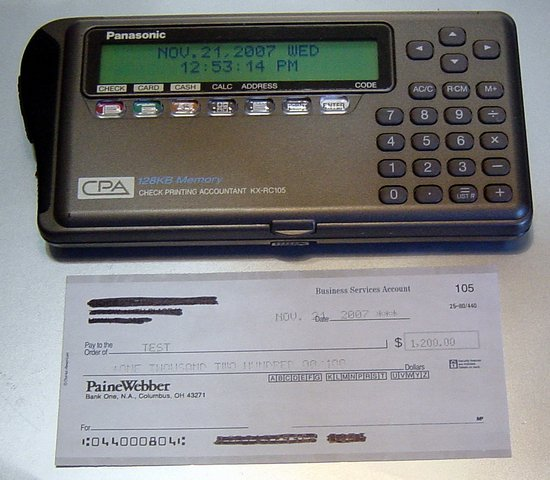 Picture of: panasonic check printing accountant kx-rc105 cpa printer calculator and tech talk, comments, help & reviews.