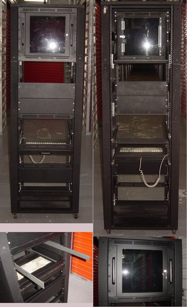 Picture of: 24x24x74 server rack cabinet w/ rails, casters, tray & keyboard  and tech talk, comments, help & reviews.