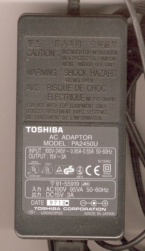Picture of: toshiba ac adapter pa2450u satellite portege 3a 15v adaptor and tech talk, comments, help & reviews.