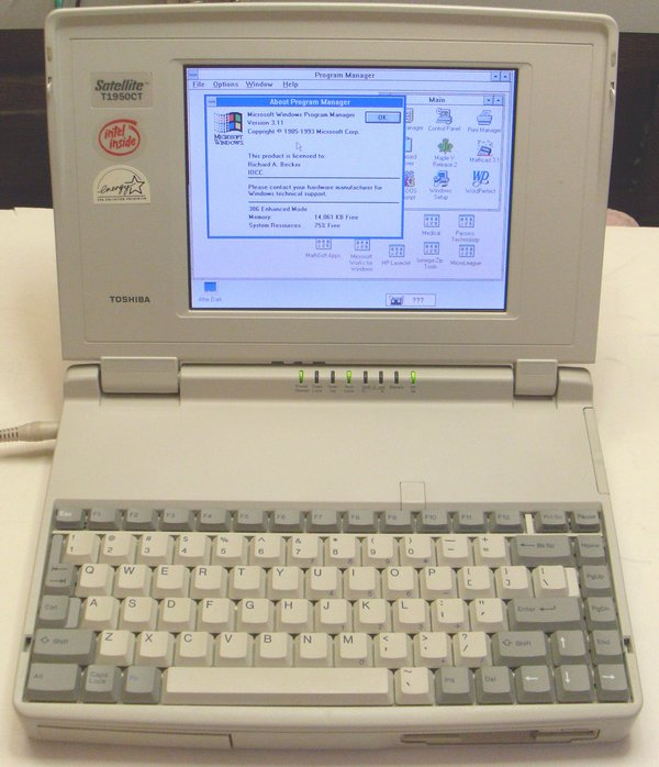 Picture of: vintage toshiba satellite t1950-ct 486 dos windows 3.11 notebook laptop and tech talk, comments, help & reviews.